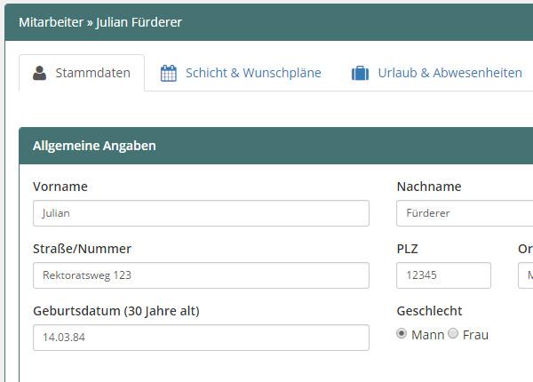Dienstplaner / Schichtplan Vorlage Online